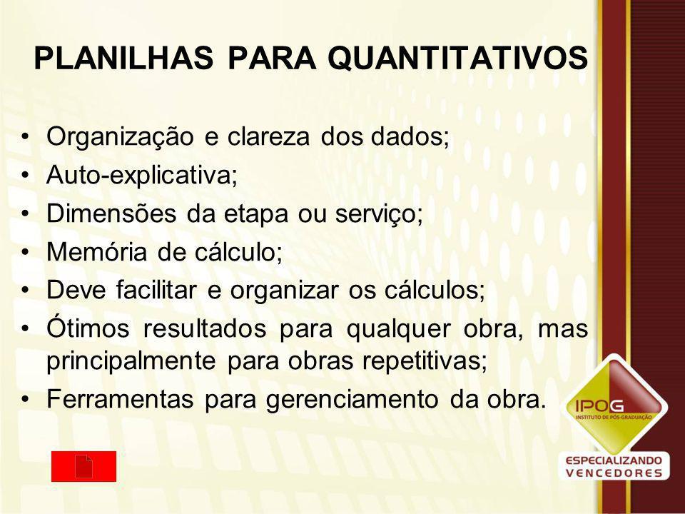 PLANILHAS PARA QUANTITATIVOS