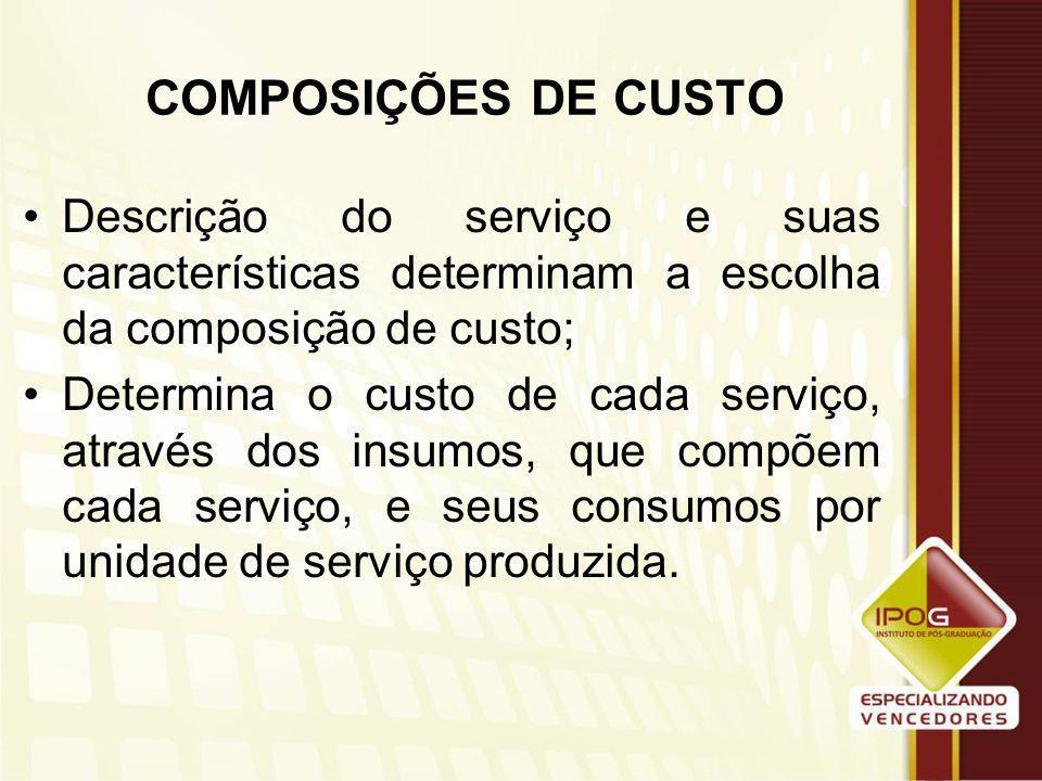 COMPOSIÇÕES DE CUSTO Descrição do serviço e suas características determinam a escolha da composição de custo;