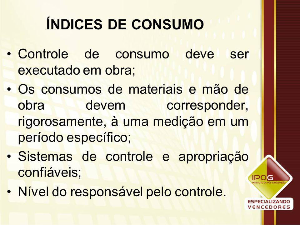 ÍNDICES DE CONSUMO Controle de consumo deve ser executado em obra;