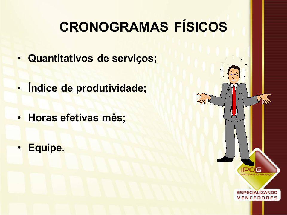 CRONOGRAMAS FÍSICOS Quantitativos de serviços;