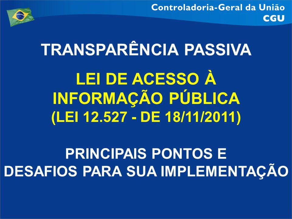 TRANSPARÊNCIA PASSIVA LEI DE ACESSO À INFORMAÇÃO PÚBLICA