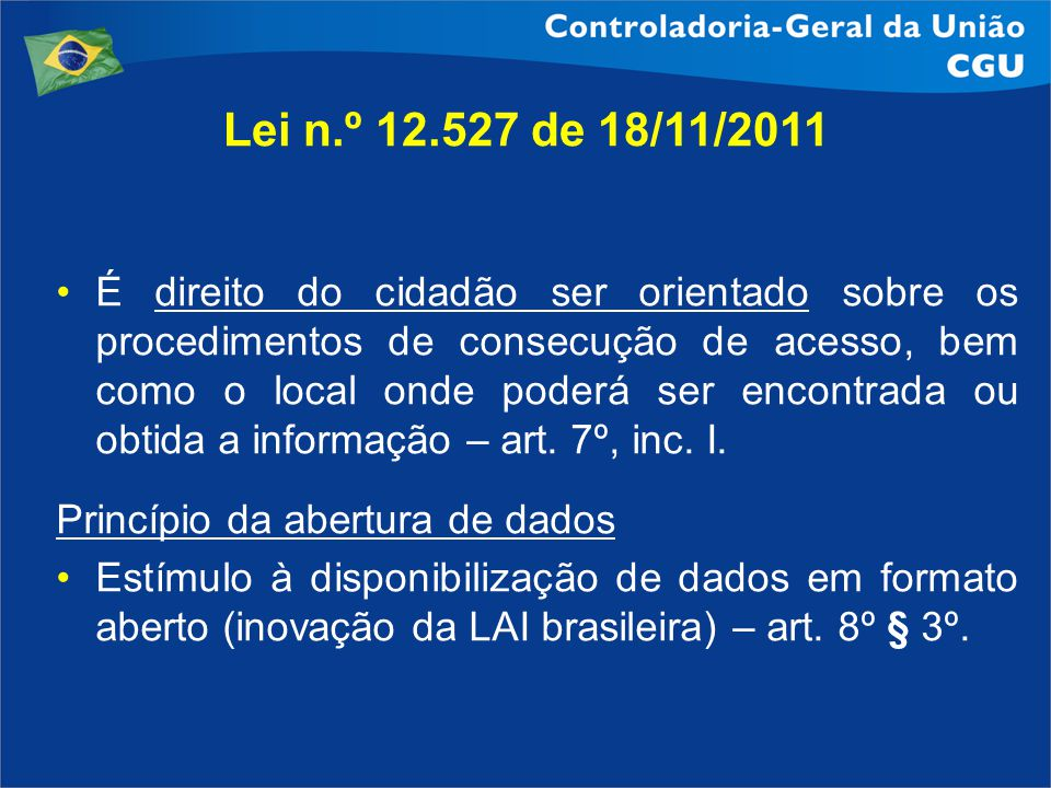 Lei n.º 12.527 de 18/11/2011