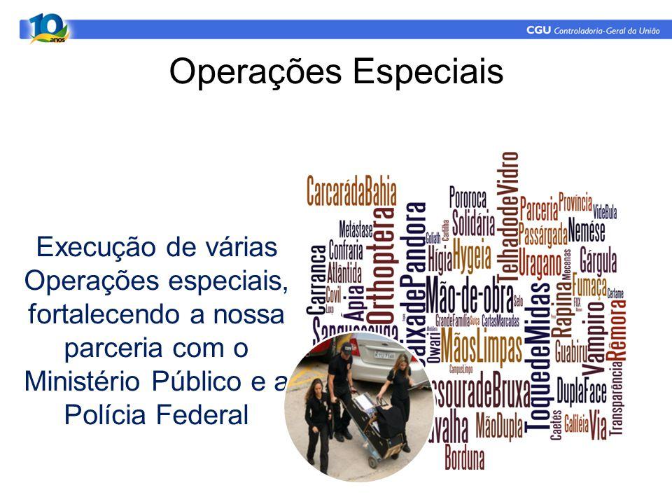 Operações Especiais Execução de várias Operações especiais, fortalecendo a nossa parceria com o Ministério Público e a Polícia Federal.