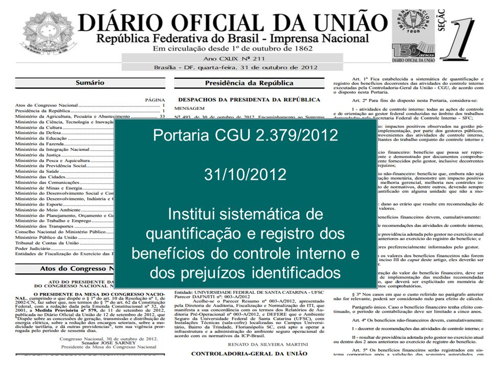 Portaria CGU 2.379/2012 31/10/2012.