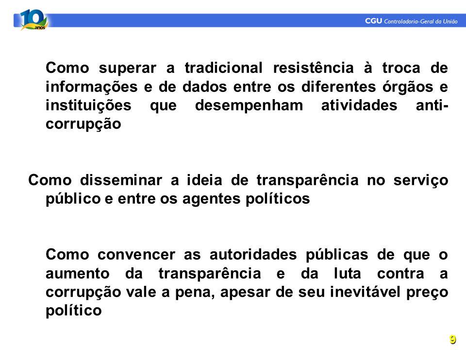 Como superar a tradicional resistência à troca de informações e de dados entre os diferentes órgãos e instituições que desempenham atividades anti-corrupção