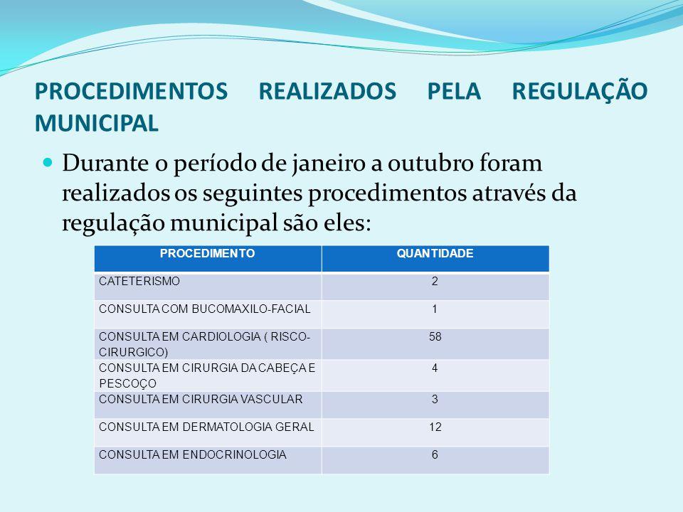 PROCEDIMENTOS REALIZADOS PELA REGULAÇÃO MUNICIPAL