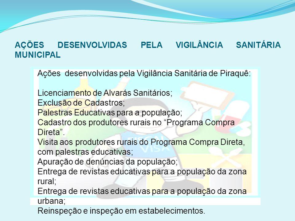 AÇÕES DESENVOLVIDAS PELA VIGILÂNCIA SANITÁRIA MUNICIPAL