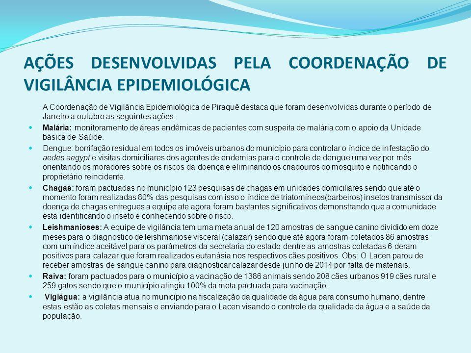 AÇÕES DESENVOLVIDAS PELA COORDENAÇÃO DE VIGILÂNCIA EPIDEMIOLÓGICA