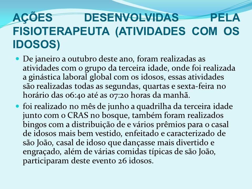 AÇÕES DESENVOLVIDAS PELA FISIOTERAPEUTA (ATIVIDADES COM OS IDOSOS)