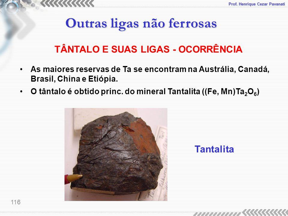 TÂNTALO E SUAS LIGAS - OCORRÊNCIA
