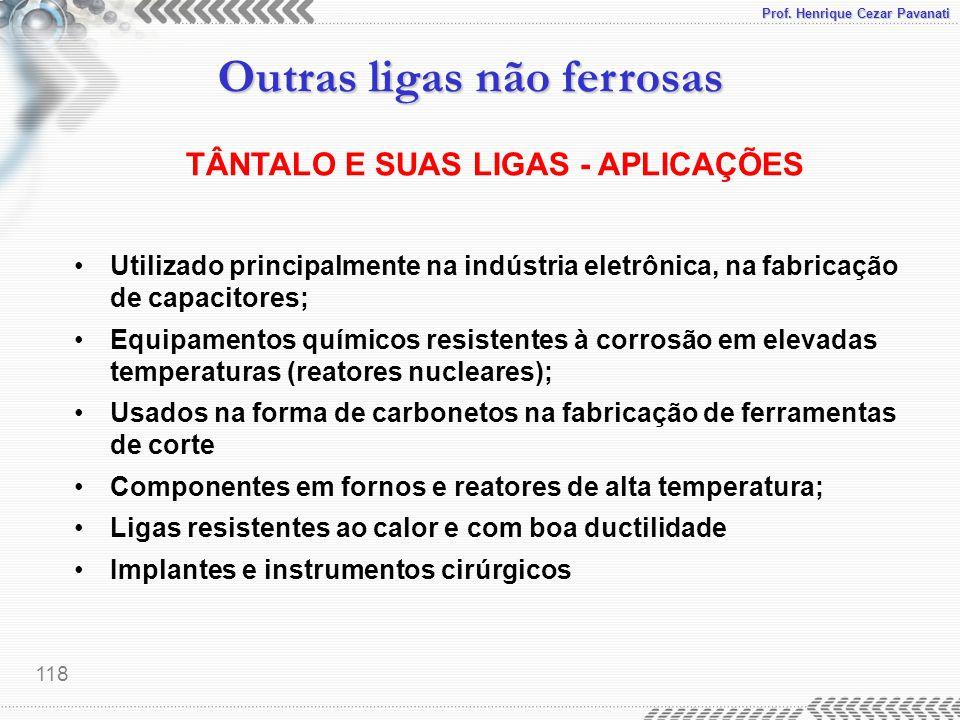 TÂNTALO E SUAS LIGAS - APLICAÇÕES
