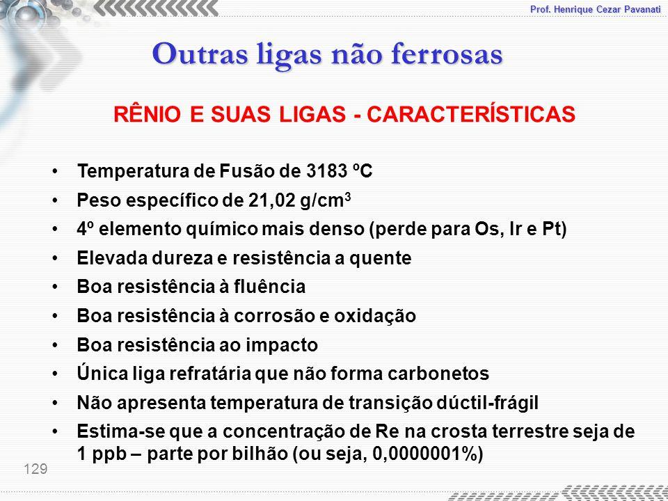 RÊNIO E SUAS LIGAS - CARACTERÍSTICAS