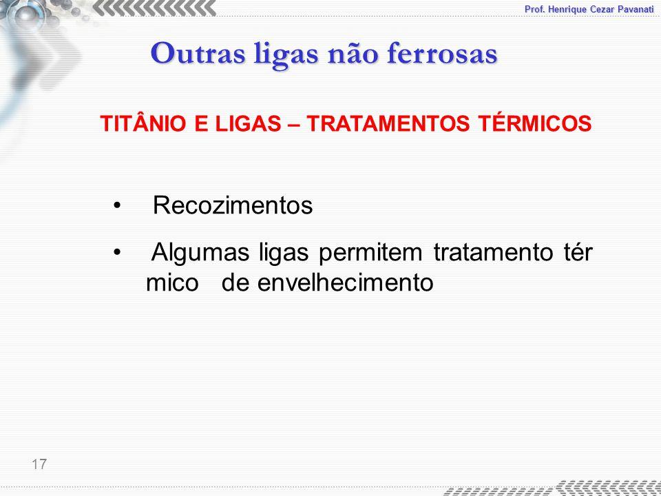 TITÂNIO E LIGAS – TRATAMENTOS TÉRMICOS