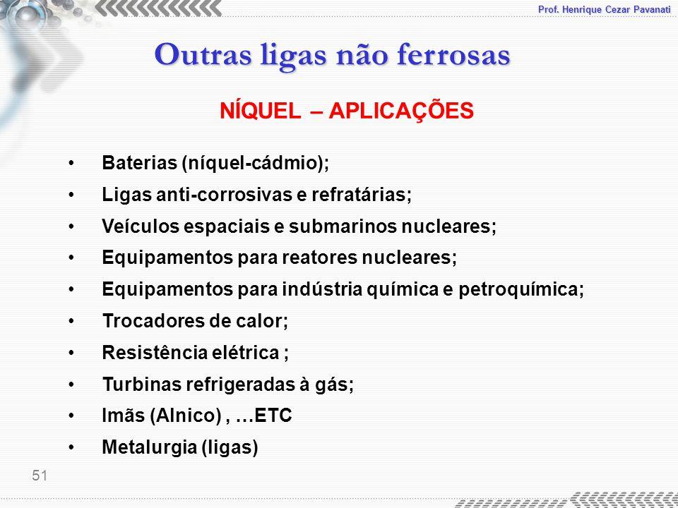 NÍQUEL – APLICAÇÕES Baterias (níquel-cádmio);