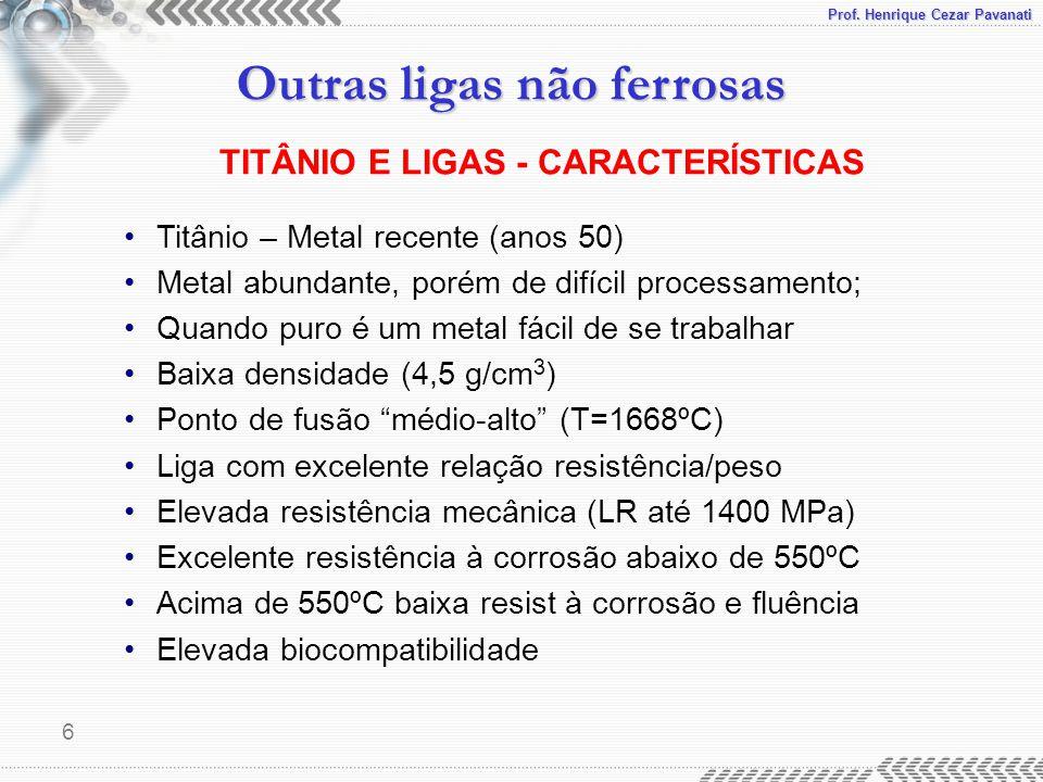 TITÂNIO E LIGAS - CARACTERÍSTICAS