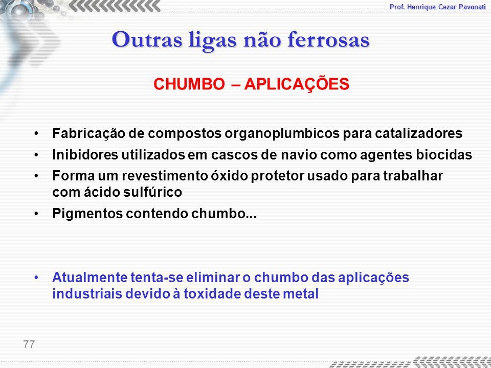 CHUMBO – APLICAÇÕES Fabricação de compostos organoplumbicos para catalizadores. Inibidores utilizados em cascos de navio como agentes biocidas.
