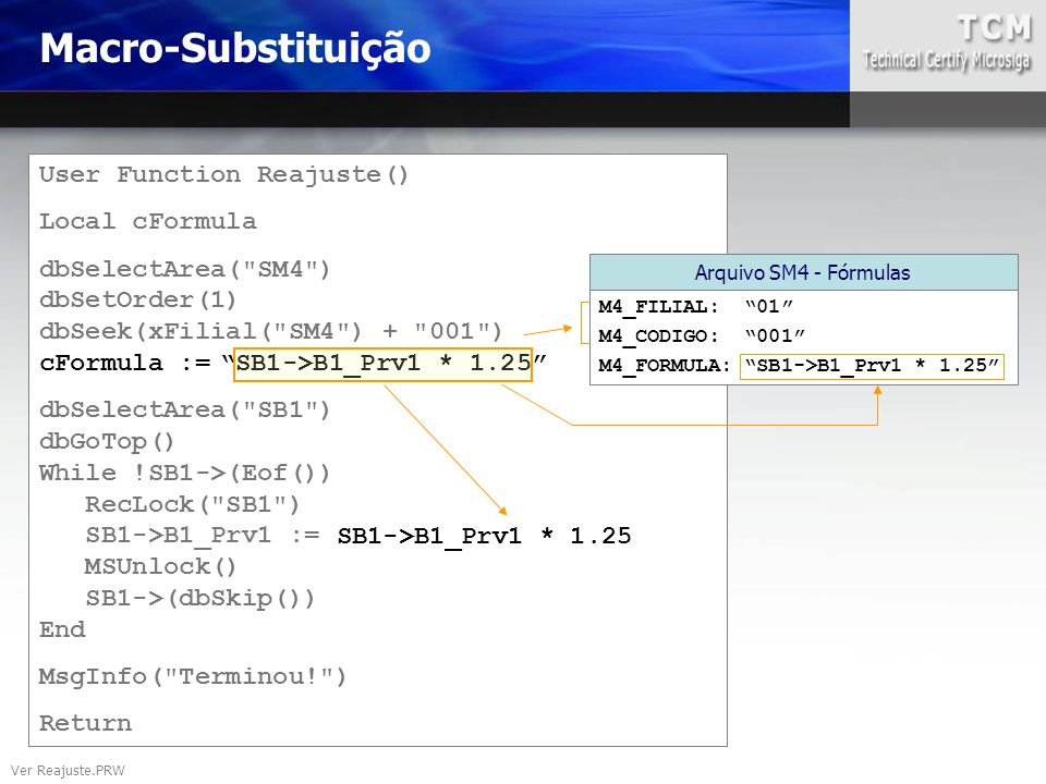Macro-Substituição User Function Reajuste() Local cFormula