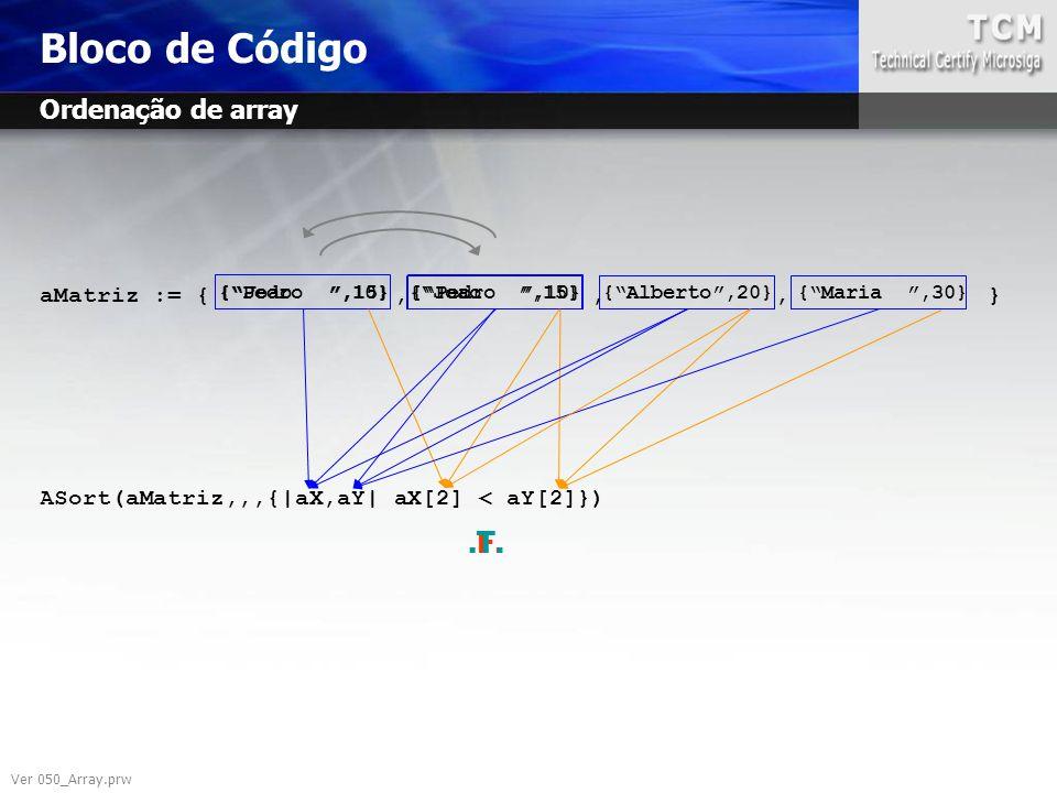 Bloco de Código .F. .T. .T. Ordenação de array aMatriz := { , , , }