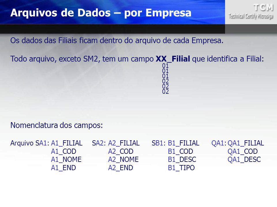 Arquivos de Dados – por Empresa