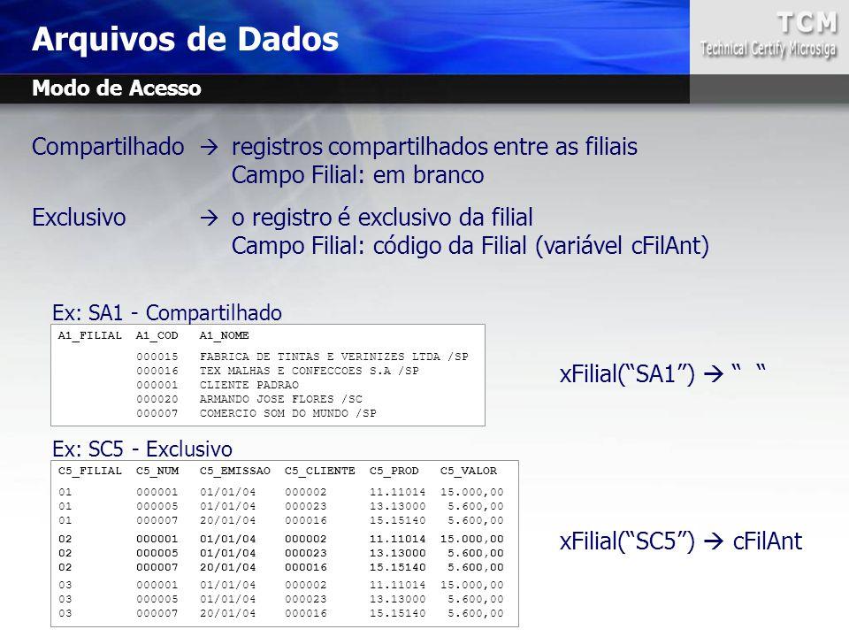 Arquivos de Dados Modo de Acesso. Compartilhado  registros compartilhados entre as filiais. Campo Filial: em branco.