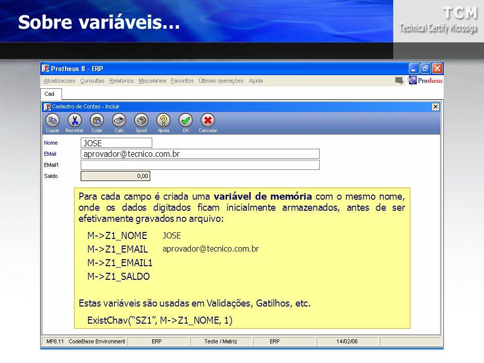 Sobre variáveis… JOSE. aprovador@tecnico.com.br.