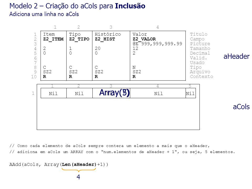 Array(5) Array( ) Modelo 2 – Criação do aCols para Inclusão aHeader