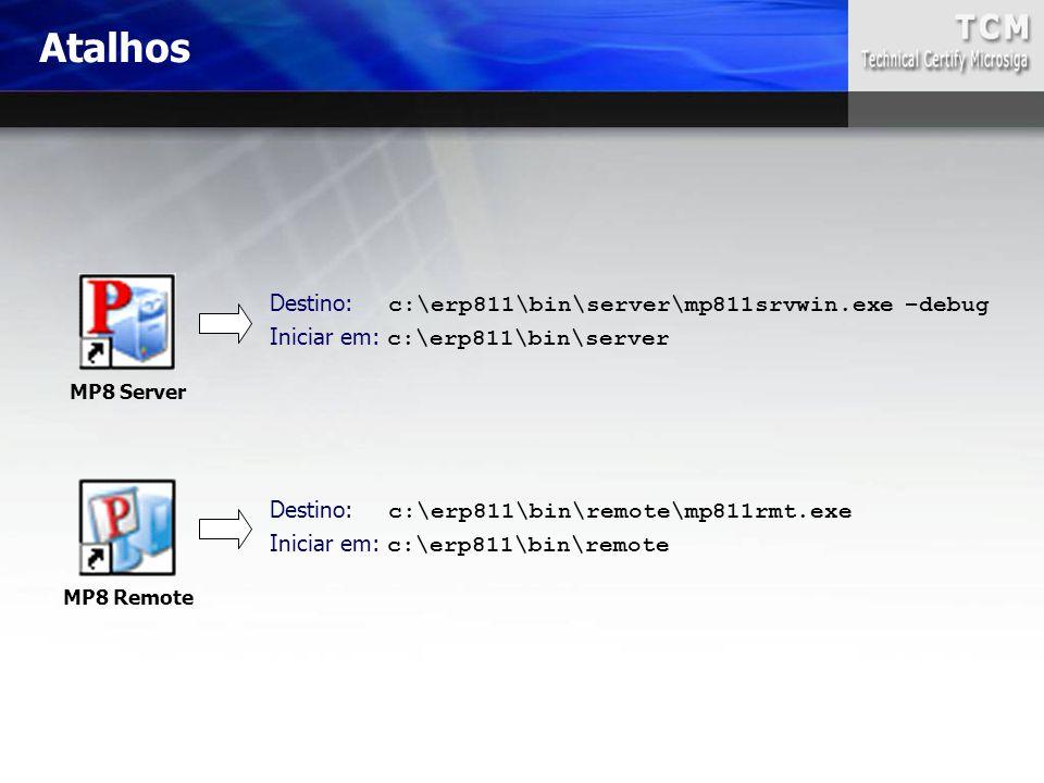 Atalhos Destino: c:\erp811\bin\server\mp811srvwin.exe –debug