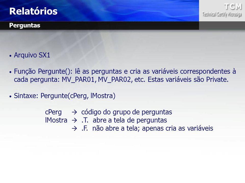 Relatórios Perguntas. Arquivo SX1.