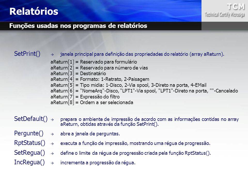 Relatórios Funções usadas nos programas de relatórios