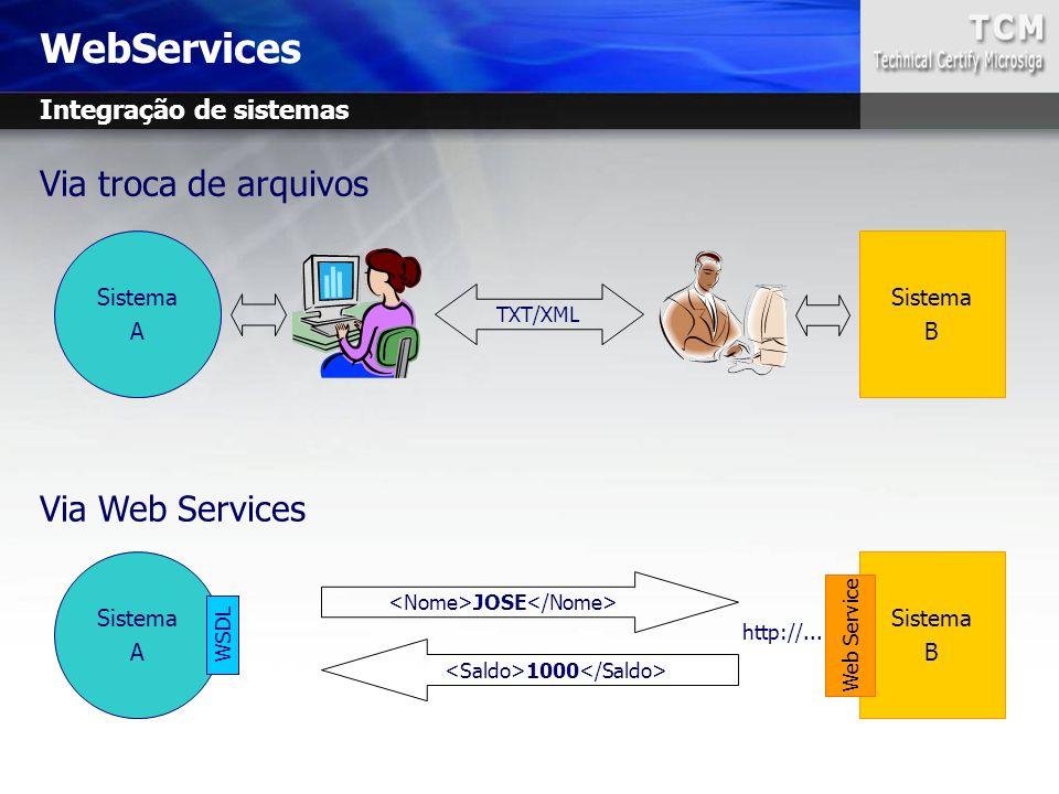 WebServices Via troca de arquivos Via Web Services