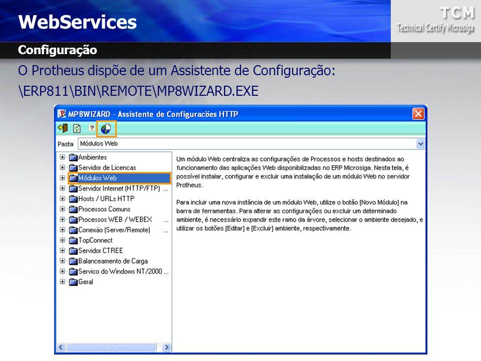 WebServices O Protheus dispõe de um Assistente de Configuração: