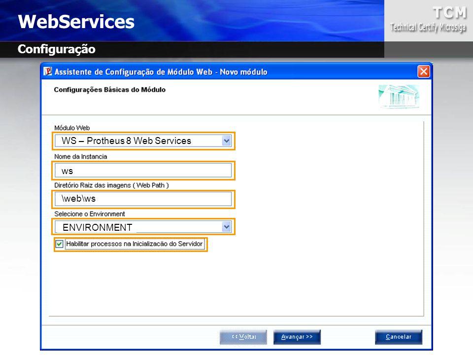 WebServices Configuração WS – Protheus 8 Web Services ws \web\ws