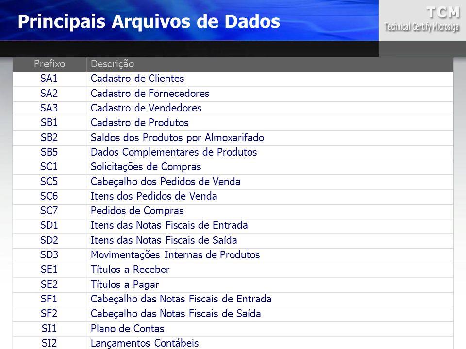 Principais Arquivos de Dados