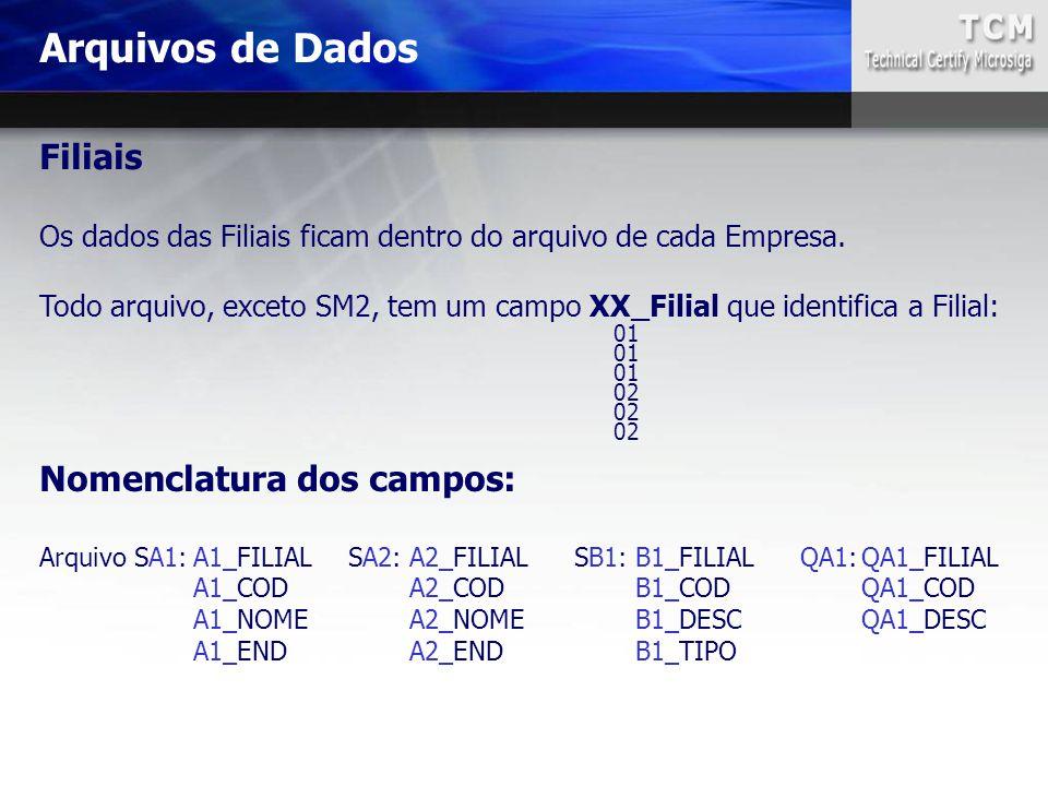 Arquivos de Dados Filiais Nomenclatura dos campos: