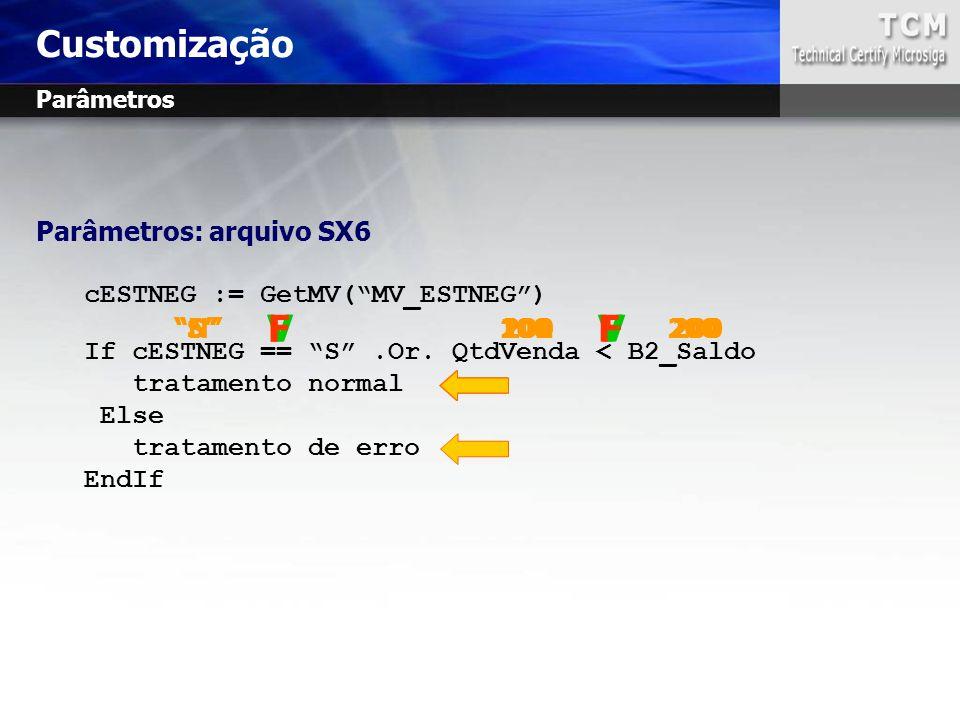 Customização V V F F V F F V Parâmetros: arquivo SX6