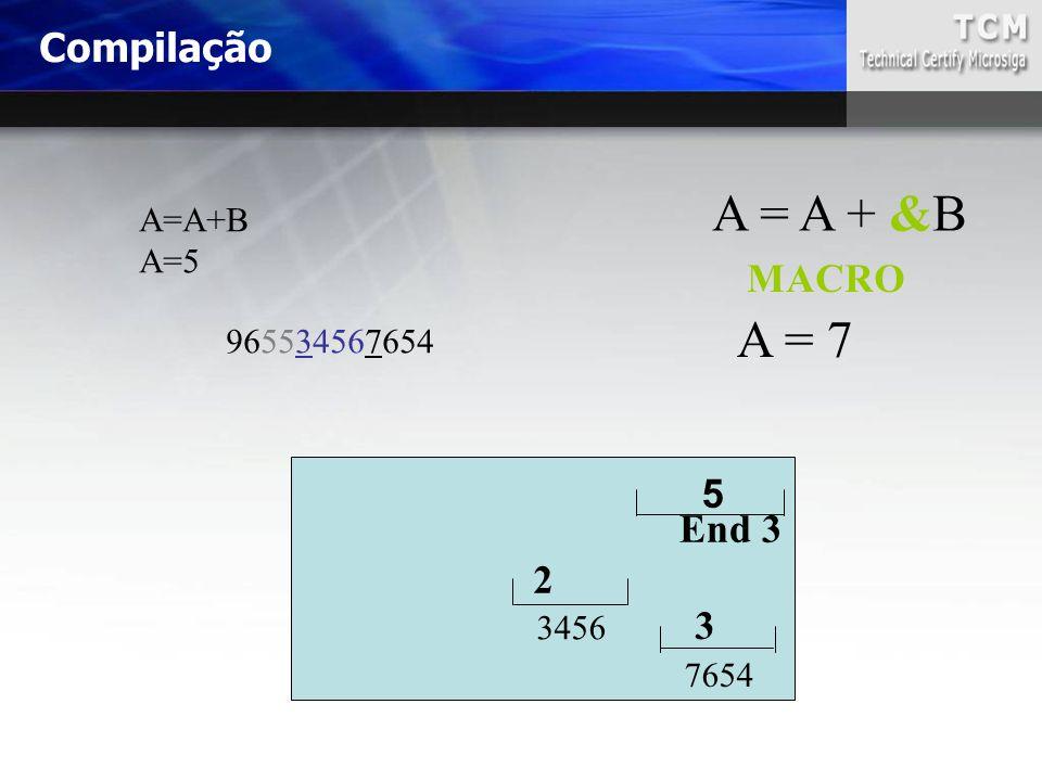 A = A + &B A = 7 Compilação MACRO 5 End 3 2 3 A=A+B A=5 965534567654
