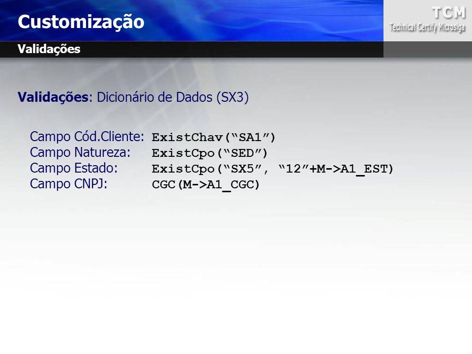 Customização Validações: Dicionário de Dados (SX3)