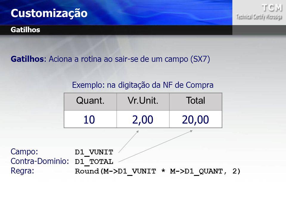 Exemplo: na digitação da NF de Compra