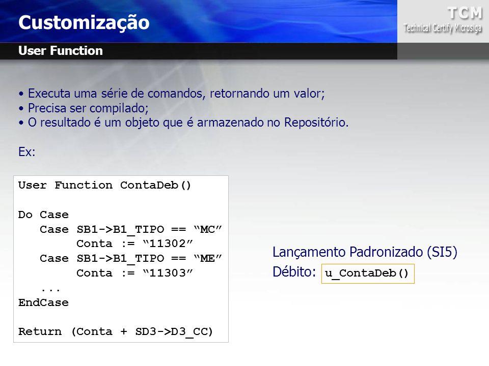 Customização Lançamento Padronizado (SI5) Débito: u_ContaDeb()