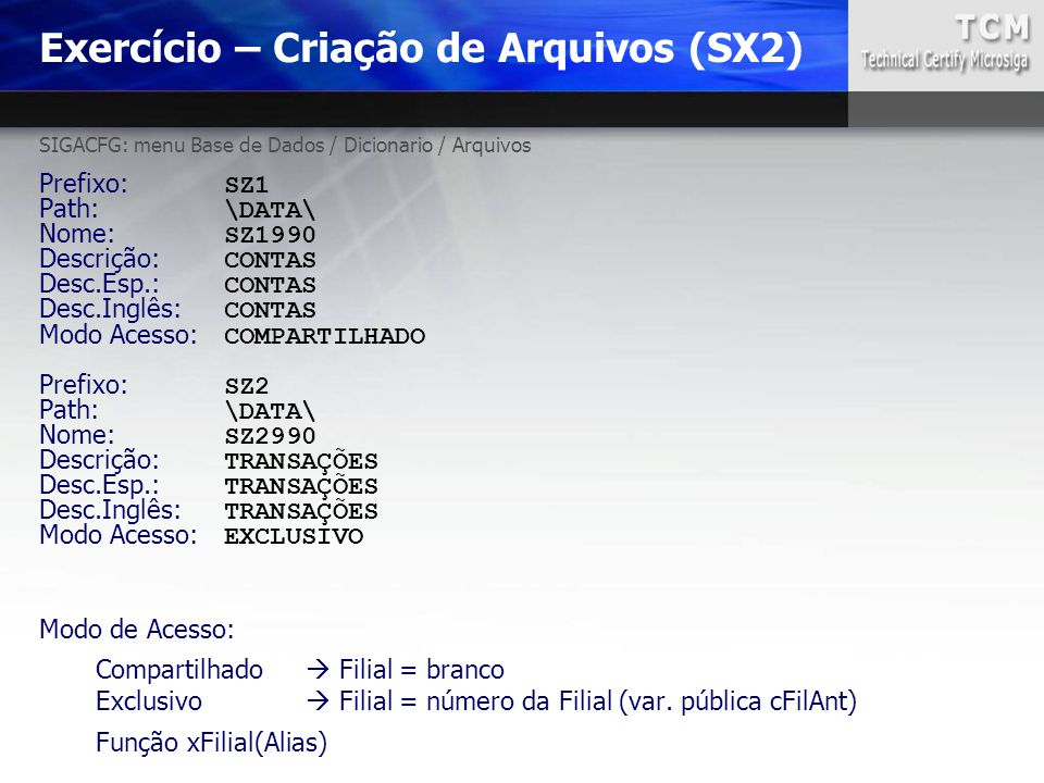 Exercício – Criação de Arquivos (SX2)