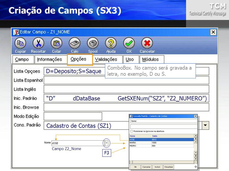 Criação de Campos (SX3) D=Deposito;S=Saque
