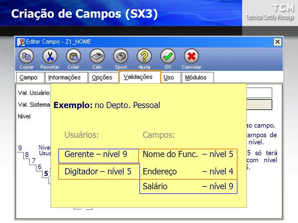 Criação de Campos (SX3) Exemplo: no Depto. Pessoal Usuários: Campos: