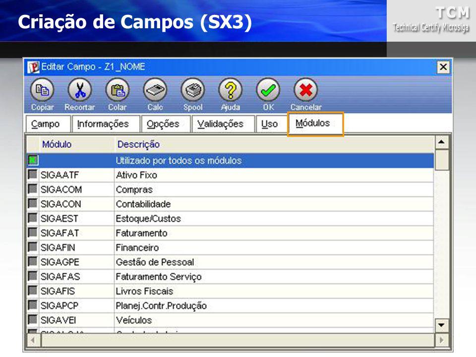 Criação de Campos (SX3)