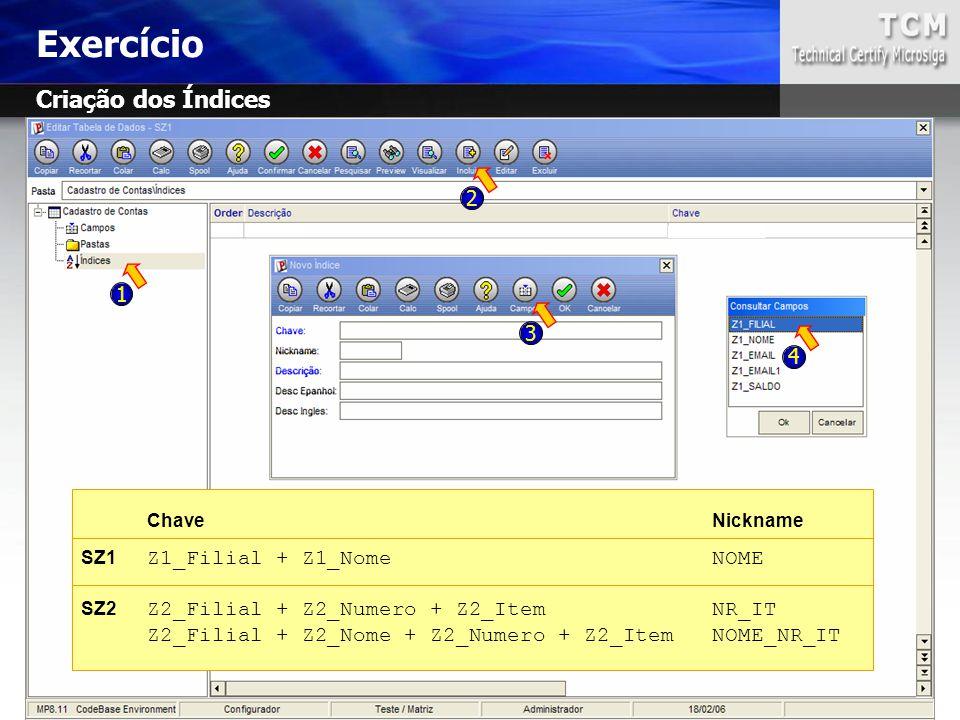 Exercício Criação dos Índices 2 1 3 4 SZ1 Z1_Filial + Z1_Nome NOME