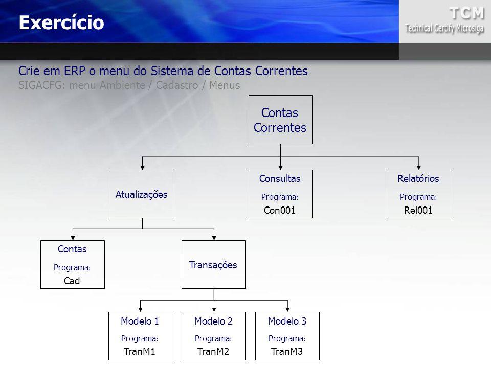 Crie em ERP o menu do Sistema de Contas Correntes