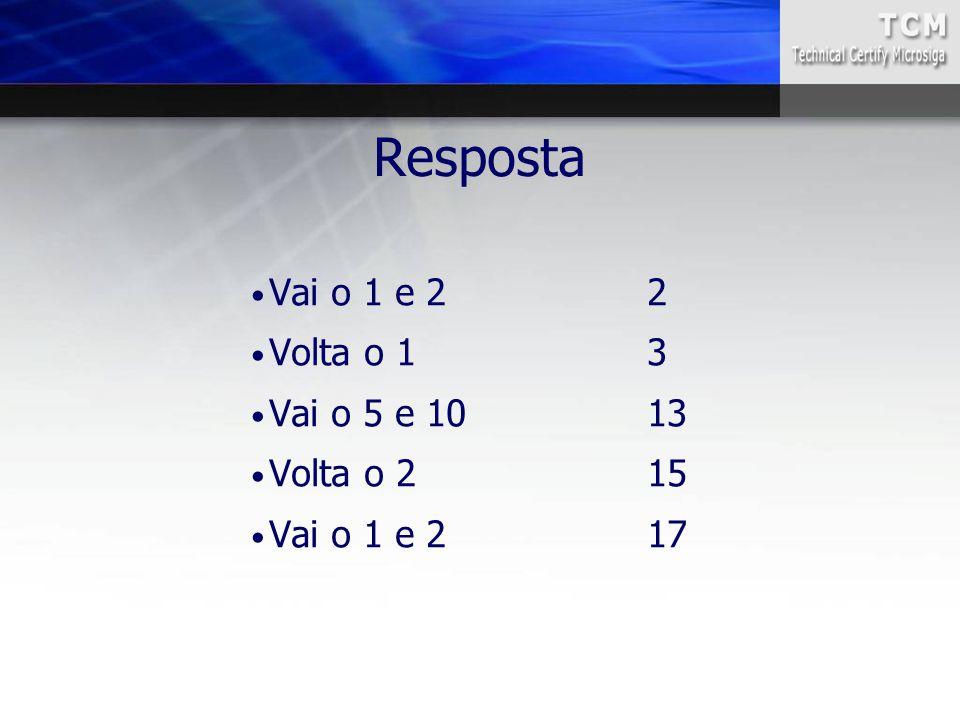 Resposta Vai o 1 e 2 2 Volta o 1 3 Vai o 5 e 10 13 Volta o 2 15