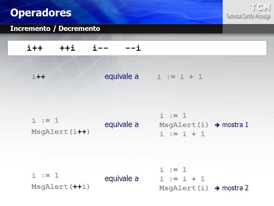 Operadores i++ ++i i-- --i i++ equivale a i := i + 1 i := 1