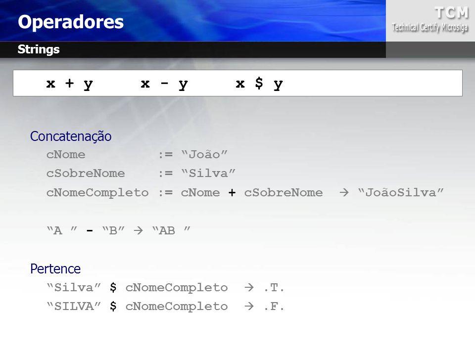 Operadores x + y x - y x $ y Concatenação cNome := João