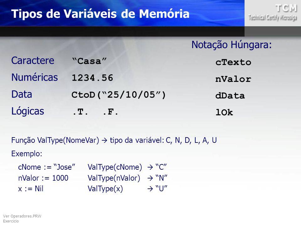 Tipos de Variáveis de Memória