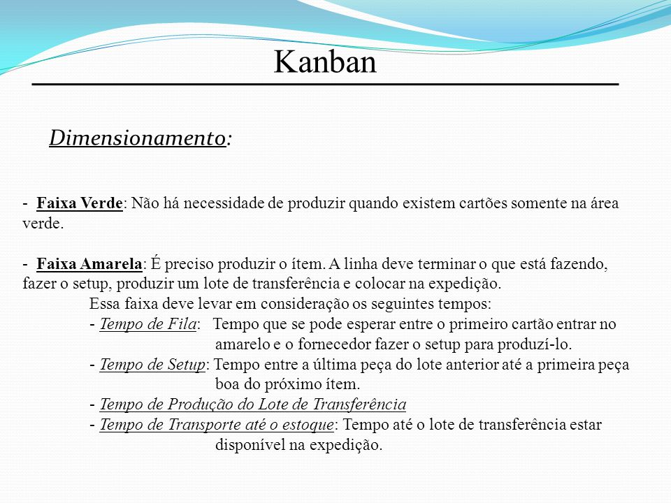 Kanban Dimensionamento: